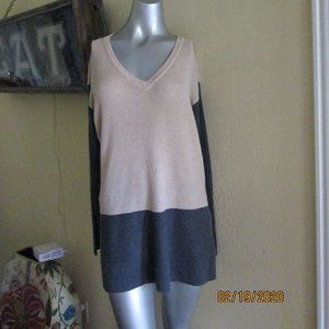 Vince Camuto Block Cream Gray Long Sweater M/L